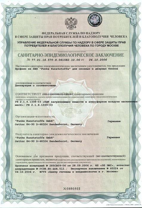 Сертификаты на профиль Funke